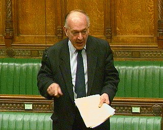 Conservative Sir Teddy Taylor in British parliament